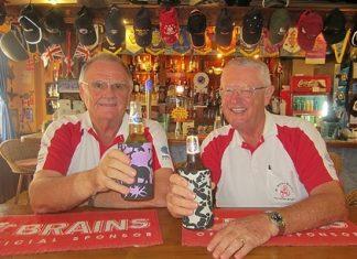 Tuesday winner Derek Brook (left) celebrates with Dick Warberg.