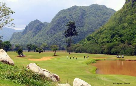 The lovely 11th hole, a par 3, at the Khao Yai Golf Course.