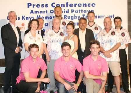Tournament sponsors and Pattaya Panthers rugby players pose for a photo at the press conference held at the Amari Orchid Pattaya on Monday, April 22, to announce the upcoming 2013 Chris Kays Pattaya Rugby Festival.