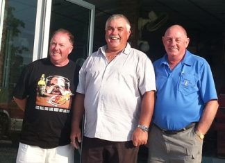 From left: JJ Harney, birthday boy Ian Jones and Bob Philp.