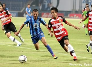 Pattaya United and Chonburi FC clash at the Chonburi Stadium, Saturday, April 6. (Photo/Pattaya United/Offside)