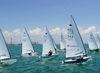 Superb sailing conditions greeted the international field of sailors at the OK Dinghy World Championship, being held at Royal Varuna Yacht Club from March 31 – April 5. (Photo courtesty OKDIA)