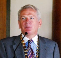 Andrew J Wood speaks at the Skål meeting in the Hyatt Regency Hotel in Hua Hin.