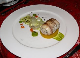 One choice for the main course was sea bass roulade with saffron potato fondant, salsa verde and baby red cabbage continuing with the Merle Blanc 2010.