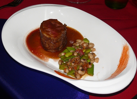 The third course was noisette of lamb with a cassoulet of summer beans and rosemary.