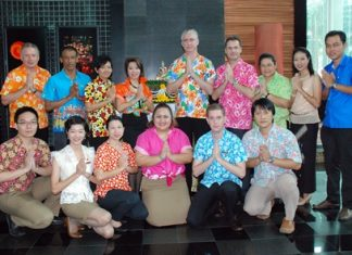 Brendan Daly (centre), GM of the Amari Orchid Pattaya, organised a Songkran blessing ceremony for his management and staff in celebration of Songkran, the Thai New Year.