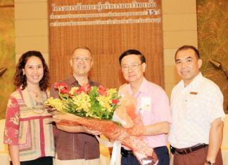 "Chulalongkorn University President Prof. Pirom Kamolratanakul (2nd right) presided over a seminar on ""15 Years Planning for Human Resources and Strategy Management"" at the Centara Grand Mirage Beach Resort Pattaya recently. He was welcomed by GM Andre Brulhart (2nd left) together with Usa Pookpant (left), PR Manager and Wuthisak Pichayagan (right), Executive Assistant Manager - Food & Beverage."