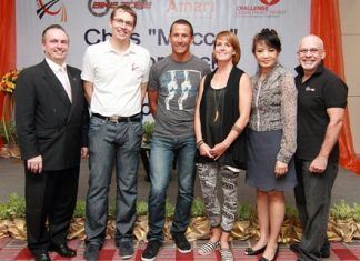 Pierre Andre Pelletier, GM of the Amari Watergate Bangkok, welcomes Chris McCormack, the Ironman World Champion who was in Bangkok to attend the 'Macca - I'm here to win' seminar held at the hotel recently. (l-r) Pierre Andre Pelletier, Roman Floesser (General Manager GoAdventure Asia), Chris McCormack, Laurence Hebel (Event Manager GoAdventure Asia), Nichaya Chaivisuth (Director of Communications & PR) and Fausto Izquiel (Director Bike Zone Co., Ltd.).
