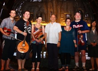 Andre Brulhart (centre), GM of the Centara Grand Mirage Beach Resort Pattaya, welcomes members of the 'A Cairde' Irish Traditional Band who performed a charity concert at the hotel recently. (l-r) Iarla O'Donnell, Aidan O'Donnell, Shauna Mullin, Aine Aleeson, Kevin O'Donnell and Koranit Sakdanan (Asst. Fund Raising Manager of the Father Ray Foundation).