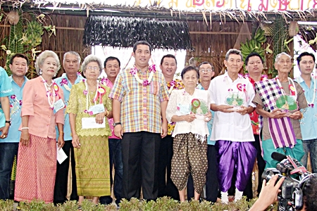 Minister of Culture Sonthaya Kunplome presided over the 'Day for the elderly' celebrations in celebration of Songkran, the Thai New Year held at the Cholrachamrung School in Baan Suan municipality. Songkran is a day when Thais show their respect and obedience to the elders at home and in the community.