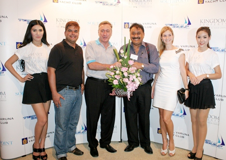 Nigel Cornick (3rd left), CEO of Kingdom Property and Project Director of Southpoint Pattaya Condominium, is congratulated by Pratheep Malhotra, MD and Suwanthep Malhotra, Deputy MD of the Pattaya Mail Media Group on the occasion of the grand opening of their sales gallery recently. The event was held at the world renowned Royal Varuna Yacht Club. On hand to welcome their guest was Irina Breslavtseva (2nd right), Marketing Manager of the property developers.