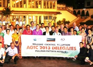 Sophon Vongchatchainont (centre), GM of Pullman Pattaya Hotel G, hosted a welcome cocktail reception for over 50 respected golf tour operators from 29 countries who were in Pattaya to attend the 2nd Asia Golf Tourism Convention (AGTC) in Pattaya city recently. Amongst the dignitaries were Peter Walton (1st row, pink shirt), President & CEO of IAGTO - The Global Golf Tourism Organization; Callum Mackie (1st row, 6th from right), MD of Solar Tours (Thailand) and Tanes Petsuwan (1st row, 5th from right), Tourism Authority of Thailand (TAT) Director of Europe, Africa and the Middle East.
