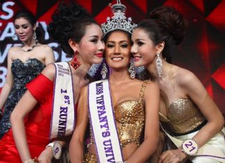Miss Tiffany's Universe 2013 Netnapada 'Neck' Kalyanon (center) receives a congratulatory peck on the cheek from first runner up Chananchida 'Blossom' Rungpetcharat (left) and second runner up Sopida 'Ning' Rachanon (right).