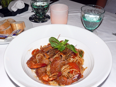 Spaghetti Pizzeria - the spaghetti being the base for tiger prawns wrapped in smoked bacon.