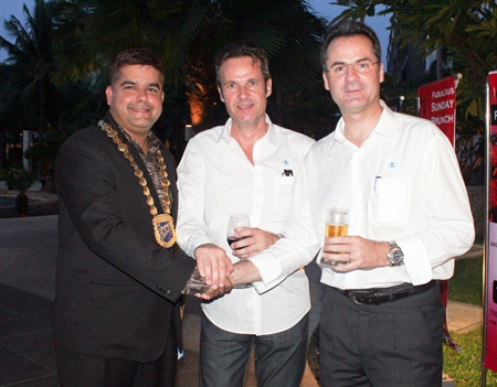 The new generation of Pattaya professionals, (L to R) Tony Malhotra, Olivier Jallageas of Baan Pictory and Richard Margo, Amari Orchid Pattaya.