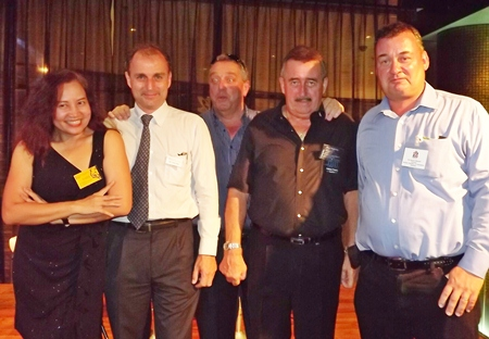 Pichada Rajavechpisal (left), the customer relations manager from Asian Tigers Mobility, joins the other sponsors (left to right) MRI Network MD Mark Hamill-Stewart, Kevin Fisher from Legacy of Legends, John Collingbourne from Pattaya Property Auctions and the chairman for the Eastern Seaboard of the BCCT Joe Barker Bennet.
