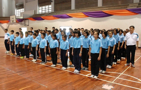 Students prepare to enjoy a week of sports and tourist attractions during a nine-day anti-drug camp organized by the Royal Thai Navy.