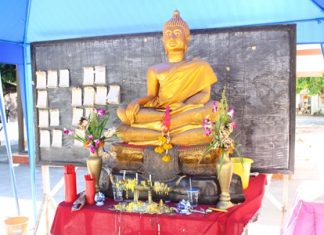 Pattaya area Buddhists afflicted with leg problems are finding solace in an unusual four-legged Lord Buddha statue at Bunyakanchanaram Temple.