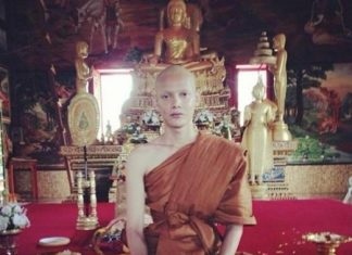 Sorrawee Nattee, ordained as a monk at Khongkha Liab Temple in Songkla.