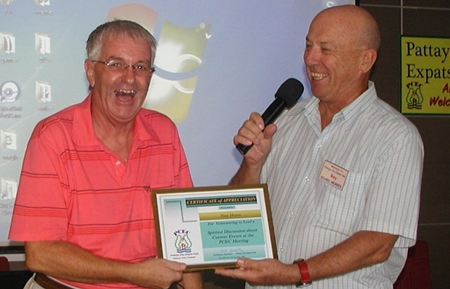 Following the 'Inquisition', MC Roy presented Tony with a Certificate of Appreciation.