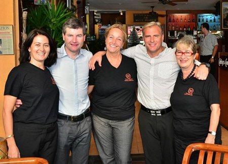 (L to R) The Man U Legends meet the Women With a Mission Kylie Grimmer, Denis Irwin, Rosanne Diamente, Clayton Blackmore and Bronwyn Carey.