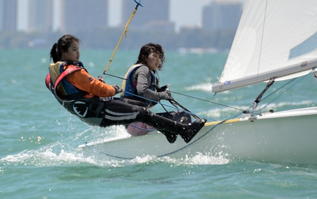Fighting for position in the Monohull Dinghy class.