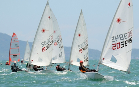 Lasers battle for honours on Day 1 of the Regatta,