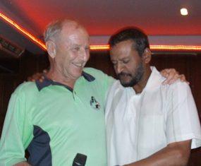 Chaten Patel (right) with Colin Davis.