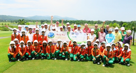 Golf tour operators and caddies pose for a photo during the recent familiarisation trip.