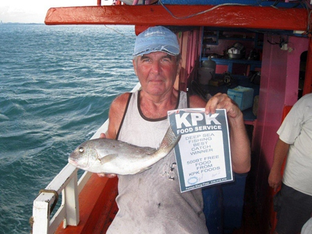 Paul Davies poses with his snapper and KPK voucher prize.