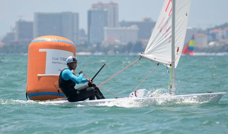 Keerati Bualong gave a sailing masterclass in the single-handed monohull dinghy event.