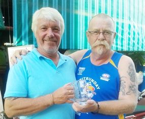 Paul Hack (right) receives his Monthly Mug from Peter Grey.