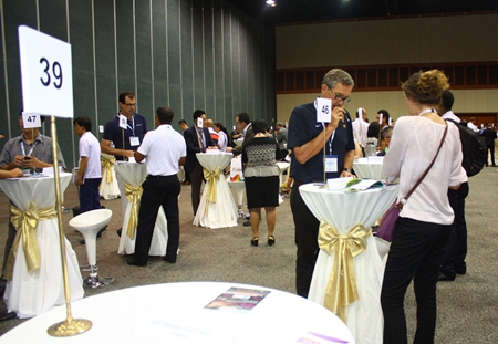"""Suppliers take the opportunity to introduce themselves to buyers during 2 hours of """"speed dating"""" at the beginning of the first business day of the Asia Golf Tourism Convention 2013."""