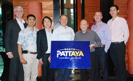 (L to R) Brendan Daly, General Manager of Amari Orchid Pattaya; Sittidej Rochnavibhata, General Manager of Cape Dara; Sophon Vongchatchainont, General Manager Pullman Pattaya G; Andre Brulhart, General Manager of Centara Grand Mirage Beach Resort Pattaya; Chatchawan Supachayanont, General Manager of Dusit Thani Hotel Pattaya; Garth Solly, General Manager of Holiday Inn; and Sanpech Supabowornsthian, Assistant Managing Director Unchaleewiwat's Group.