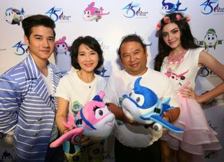(L to R) Mario Maurer, M.L. Nandhika Varavarn, Puttipong Prasarttong-Osoth, and Davika Hoorne launch the airline's cartoon mascots.