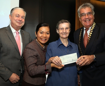 Eric Hallin (left), GM of the Rembrandt Hotel, Bangkok; Mrs Ben Montgomery (2nd left), PATA Thailand Chapter; and Dale Lawrence (right), president - Skål International Bangkok present a cheque for THB 70,000 to Sister Louise Horgan from the Fatima Centre of the Good Shepherd Sisters of Thailand recently. The funds were jointly raised by members of Skål International Bangkok and the Pacific Asia Travel Association's Thailand Chapter. Good Shepherd Sisters is a non-profit organisation dedicated to providing opportunities for women and young girls at risk in the community.