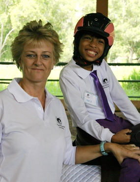 Sandra Cooper with one of her young riders