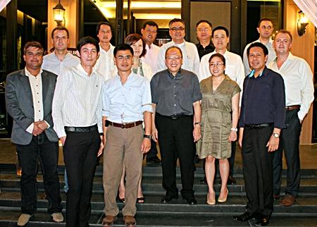 Hail, hail! The gang's all here!  (From left) Suwanthep Malhotra (Asst. MD Pattaya Mail), Richard Margo (Amari Orchid Pattaya Resident Manager), Sanpech Supabowornsthian (GM Long Beach Garden Hotel & Spa Pattaya), Sophon Vongchatchainont (GM Pullman Pattaya Hotel G), Sittidej Rochanavibhata (General Manager Cape Dara Resort), Bundarik Kusolvitya (President of the Thai Hotel Association - Eastern Chapter), Sawek Meeprasertsak (Acting Hotel Manager Ocean Marina Yacht Club), Chatchawal Supachayanont (GM Dusit Thani Pattaya), Surapan Somthai (GM Eastin Hotel Pattaya), Yuwathida Jeerapat (MD Hotel J Pattaya), Somkhit Tonsaiphet (The Zign), Tatcha Riddhimat (GM Furama Jomtien Beach, Pattaya), Sompat Jantawan (GM of Tsix5 Hotel), Dimitri Chernyshev (Exec. Asst. Manager Pullman Pattaya Hotel G), and Garth Solly (GM Holiday Inn Pattaya).