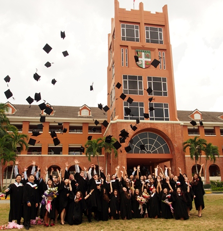 The hat throw traditionally completes the graduation ceremonies.