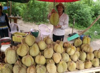 Durian seller Worasak Wongdeephumidol said customers are grumbling about the prices, but most are still buying.