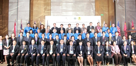 Scholars attending Burapha University's second International Academic Forum pose for a very large group photo at the Hilton Hotel Pattaya.