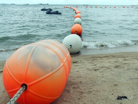 Pattaya officials plan to invest 11.4 million baht to purchase the orange buoys, ropes, anchors and materials for lifeguard stations needed to cordon off two more swimming areas on Naklua and Wong Amat beaches.