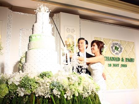 The newlywed bride and groom cut wedding cake.
