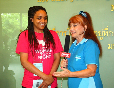 Marcia Banasko (left), communications director for World Wide YWCA, is interviewed by Elfi Seitz for Pattaya Mail TV.