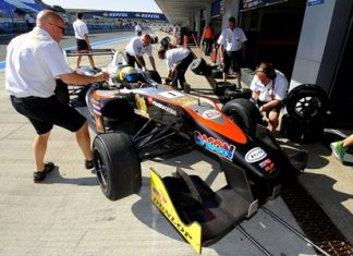 Sandy Stuvik enters the pits during qualifying for the 4th Round of the European Formula 3 Open Championship in southern Spain, Saturday, June 15.