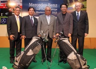 Tournament organizers and sponsors pose for a photo following a press conference leading-up to the 11th Mercedes-Benz Junior Golf Asian Masters Final, being held at Burapha Golf Club & Resort from 12–14 June.