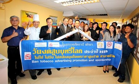 Dusit Thani Pattaya marked World No Tobacco Day My 31, a yearly activity aimed at raising awareness among staff and management of the importance of a tobacco-free lifestyle. Hotel management joined the staff in distributing anti-smoking leaflets and creating banners to spread the message that smoking is dangerous to health, and advertising tools promoting the habit must be banned. Staff members who have successfully quit the habit were also commended with a Certificate of Recognition and offered many other ways to live a healthy life such as riding a bicycle and engaging in any sport activity.
