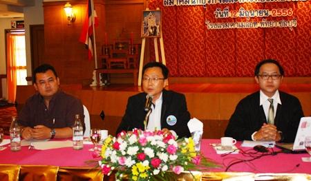 PBTA President Sinchai Wattanasartsathorn (center), presides over the June meeting with PBTA Vice President Krit Jiramongkol (left) and Athapol Vannakit (right), TAT's Pattaya office director, at Camelot Hotel in South Pattaya.