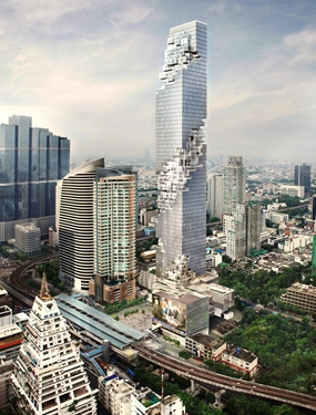 An artist's drawing shows the completed MahaNakhon tower and mixed-used development in the Silom/Sathon central business area of Bangkok.