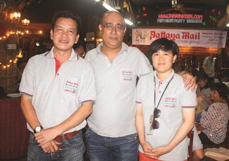 Nopniwat Krailerg (left) news editor of our 3 newspapers with Korn Kitcha-Amorn and Pattaya Mail reporter Warunya Thongrod.